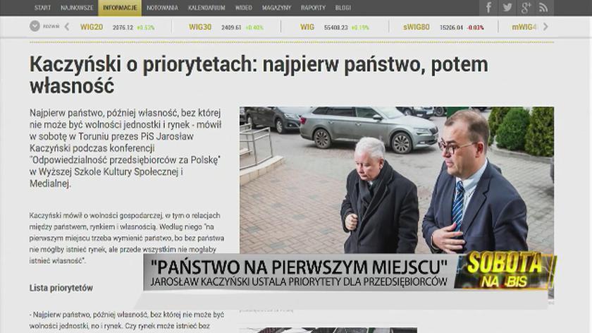Kaczyński o priorytetach: najpierw państwo, potem własność