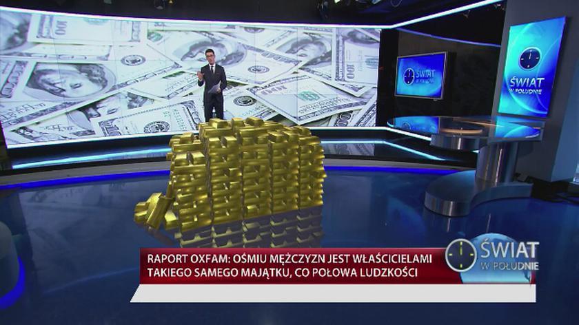 Osiem najbogatszych osób świata ma razem tyle pieniędzy co połowa ludzkości