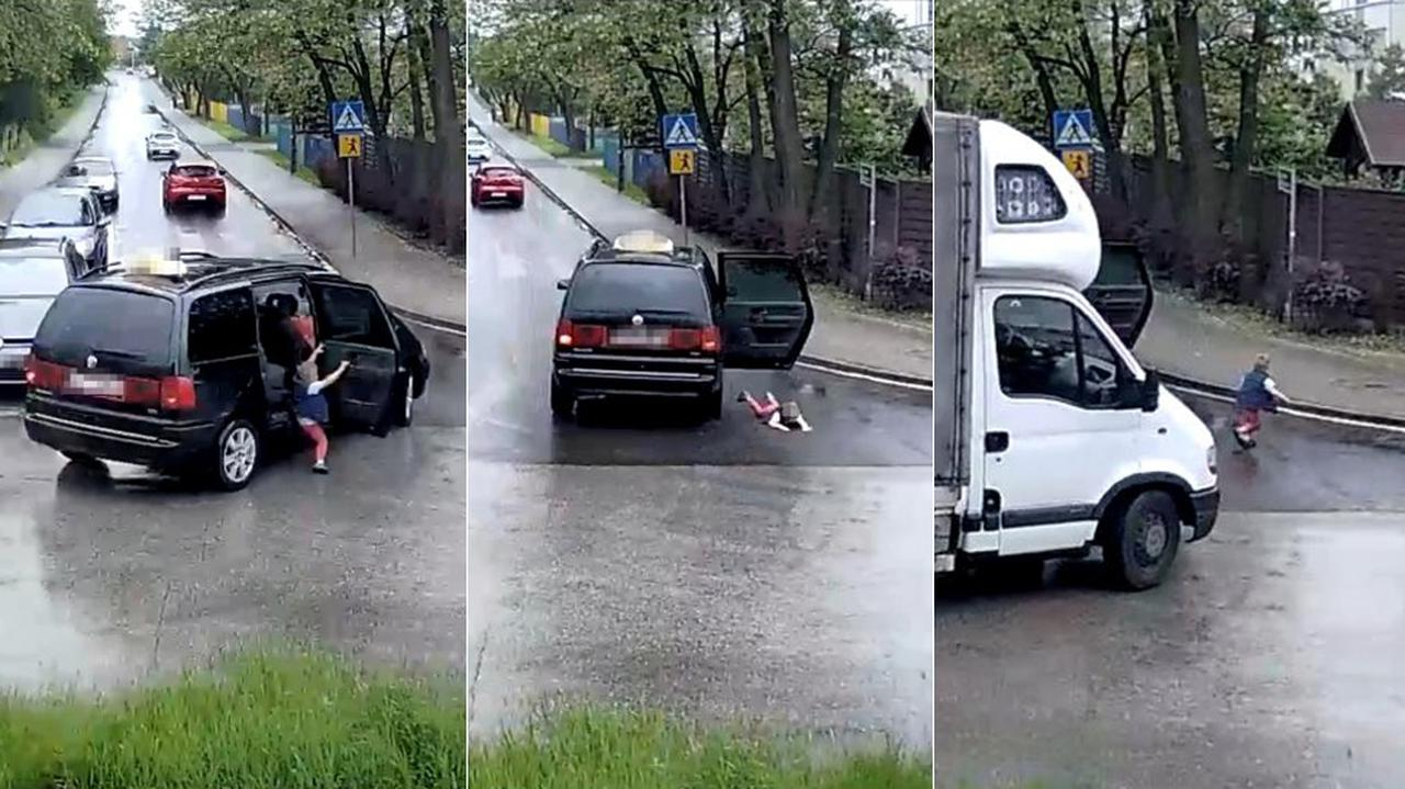 Czteroletni chłopiec wypadł z taksówki. Nikt nie zgłosił zdarzenia, ale policja dotarła do nagrania