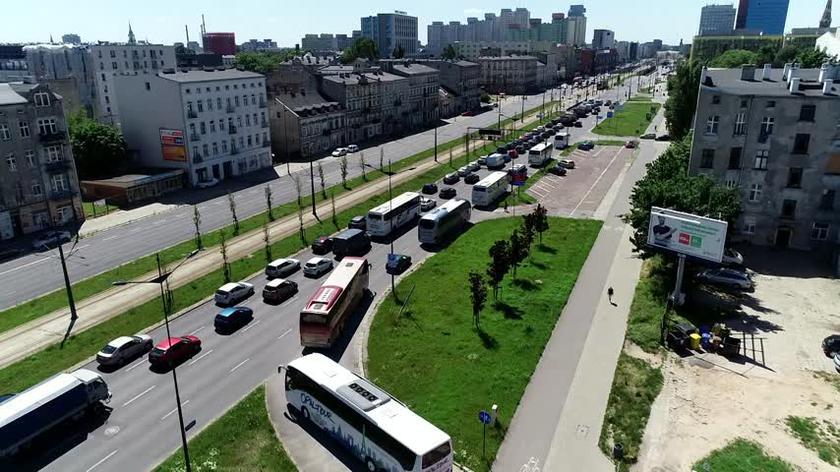 Protest kierowców autobusów odbył się m.in. w Łodzi