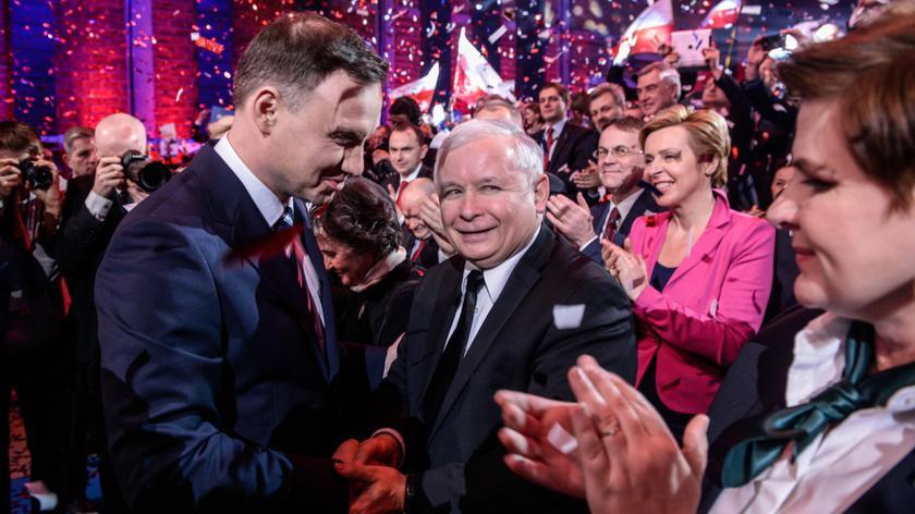 Kandydat PiS na prezydenta Andrzej Duda i prezes PiS Jarosław Kaczyński