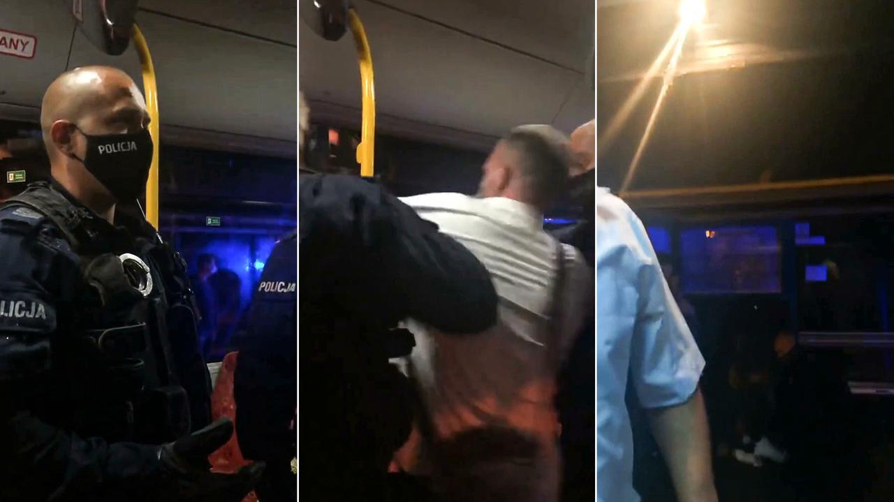 Niechciał wysiąść zautobusu zelektryczną hulajnogą, policjanci wyprowadzili go siłą.Zobacz monitoring ze środka autobusu