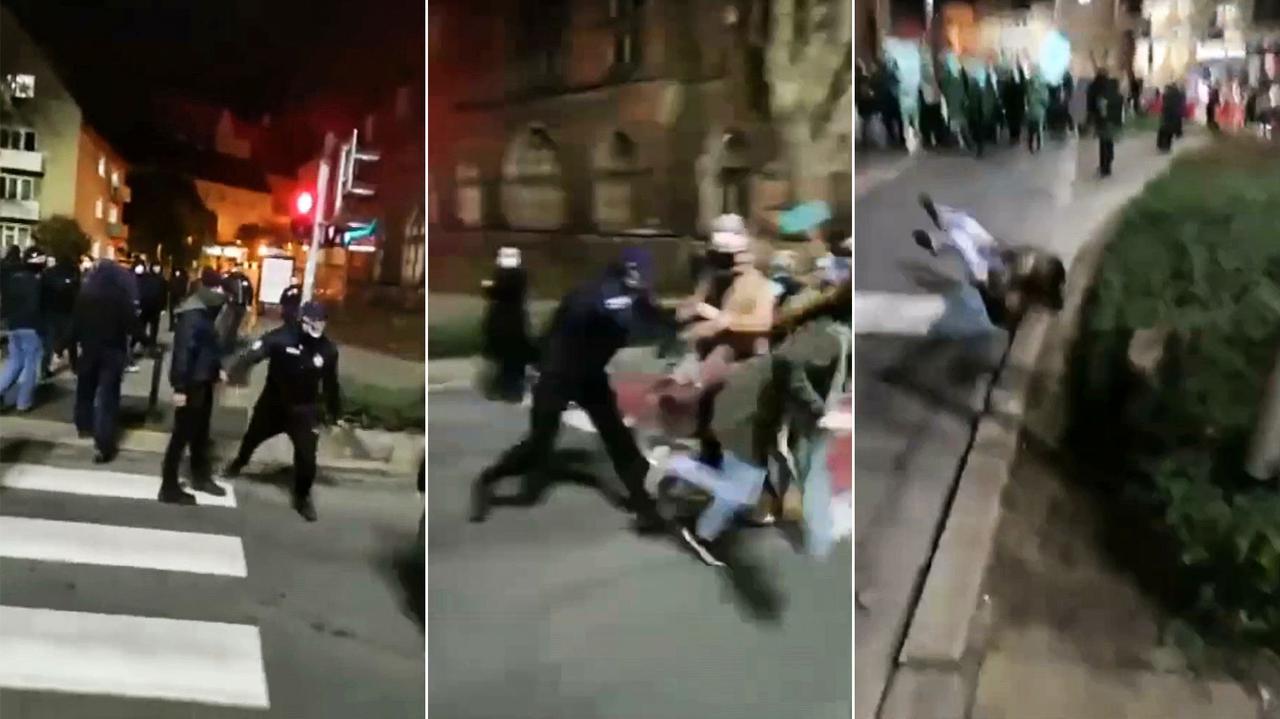 Nagranie: zamaskowany mężczyzna popycha kobietę, ona upada na krawężnik