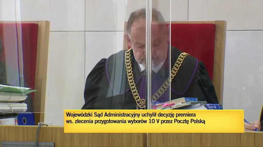 Wojewódzki Sąd Administracyjny uchylił decyzję premiera ws. zlecenia przygotowania wyborów 10 maja przez Pocztę Polską