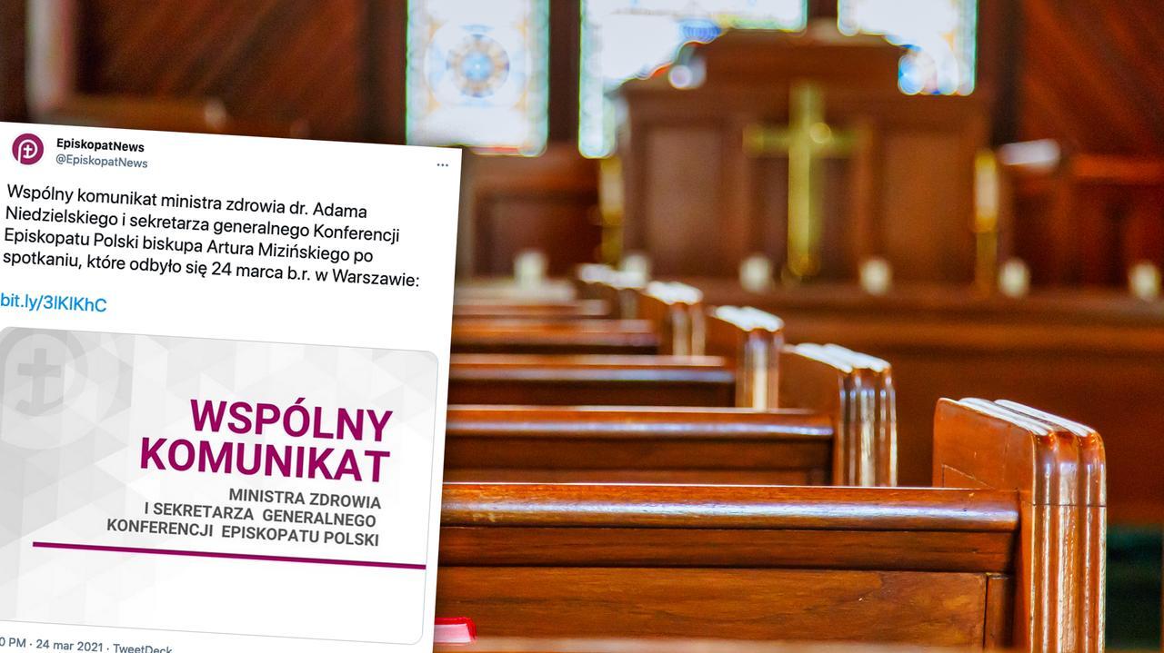 Wspólny komunikat ministra zdrowia i episkopatu w sprawie liczby wiernych w kościołach