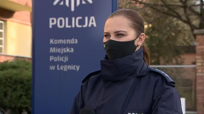 Aspirant Anna Grześków z Komendy Miejskiej Policji w Legnicy o zatrzymaniu mężczyzny w związku ze zgłoszeniem przemocy domowej