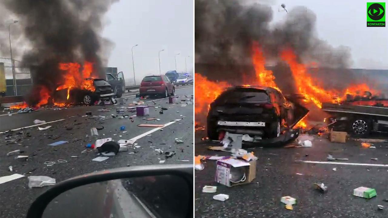 Wieźli organy do przeszczepu, zobaczyli na autostradzie płonące auta i ruszyli z pomocą