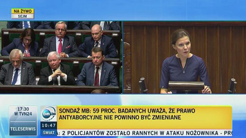 Joanna Banasiuk podczas dyskusji o zakazie aborcji