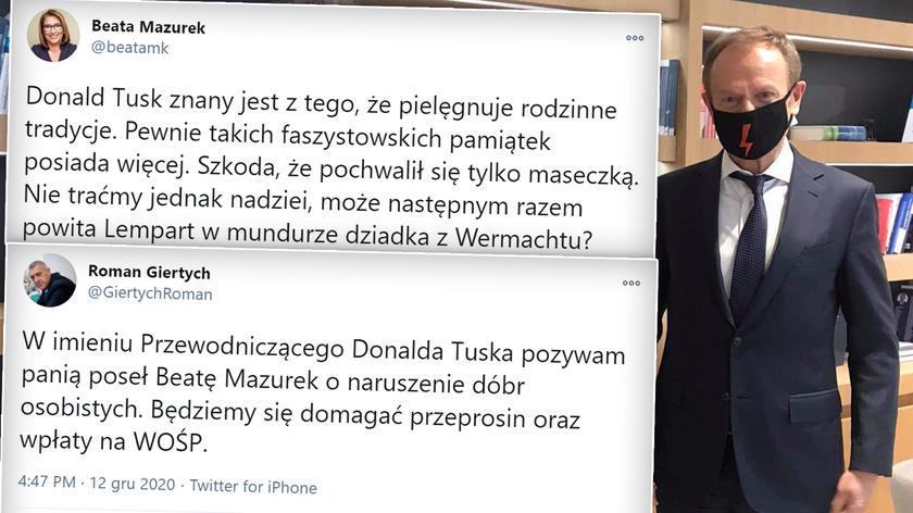 Tusk: maseczkę mam po dziadku z Wehrmachtu