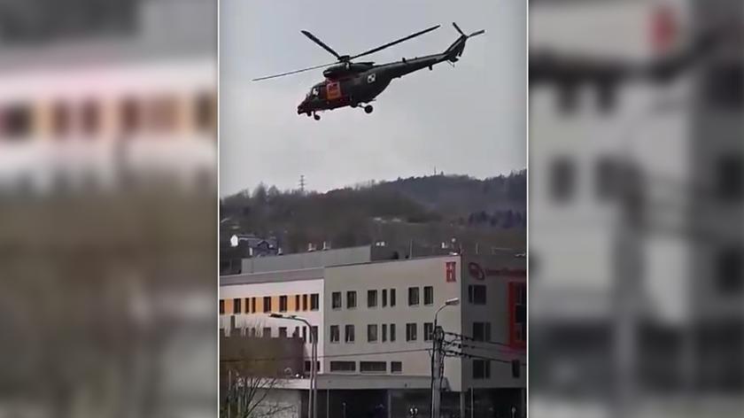 Śmigłowiec wojskowy przyleciał po pacjentkę do szpitala w Żywcu