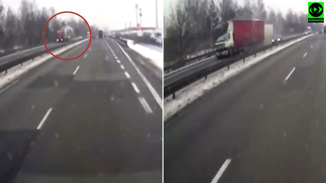 Po zderzeniu kabina jednej z ciężarówek przestała istnieć