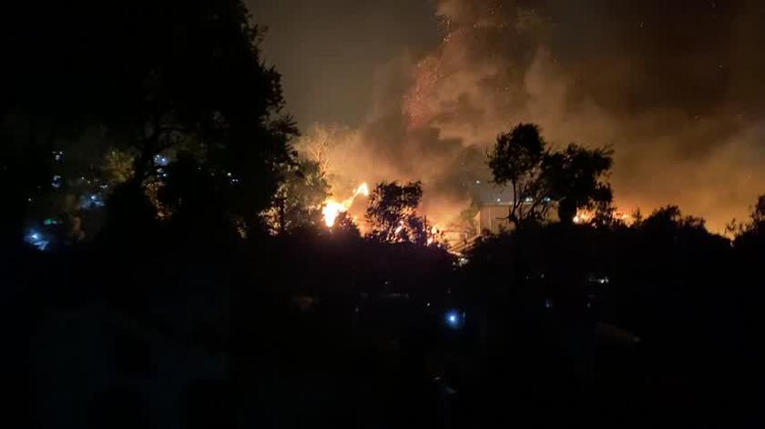 Pożar w obozie Moria. Nagranie Karola Krasa z Lesbos