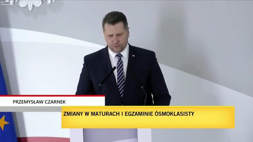 Przemysław Czarnek o zmianach w maturach i egzaminie ósmoklasistów