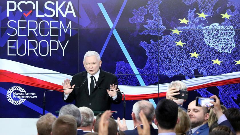 Sztab PiS - przemówienie Jarosława Kaczyńskiego