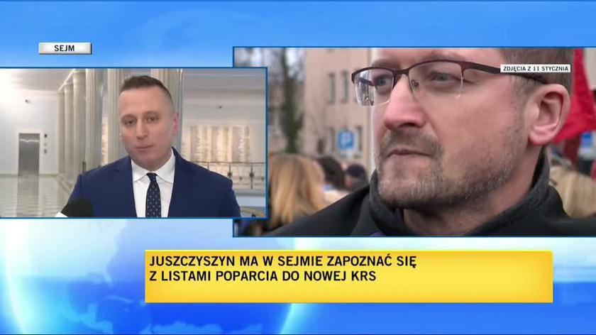 """Sędzia Juszczyszyn wzywa szefową Kancelarii Sejmu do stawienia się w sądzie (materiał """"Faktów"""" TVN z 2.stycznia)"""