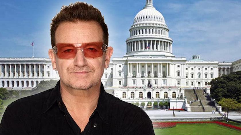 """Bono przemawiający w amerykańskim Senacie (materiał """"Faktów"""" TVN)"""