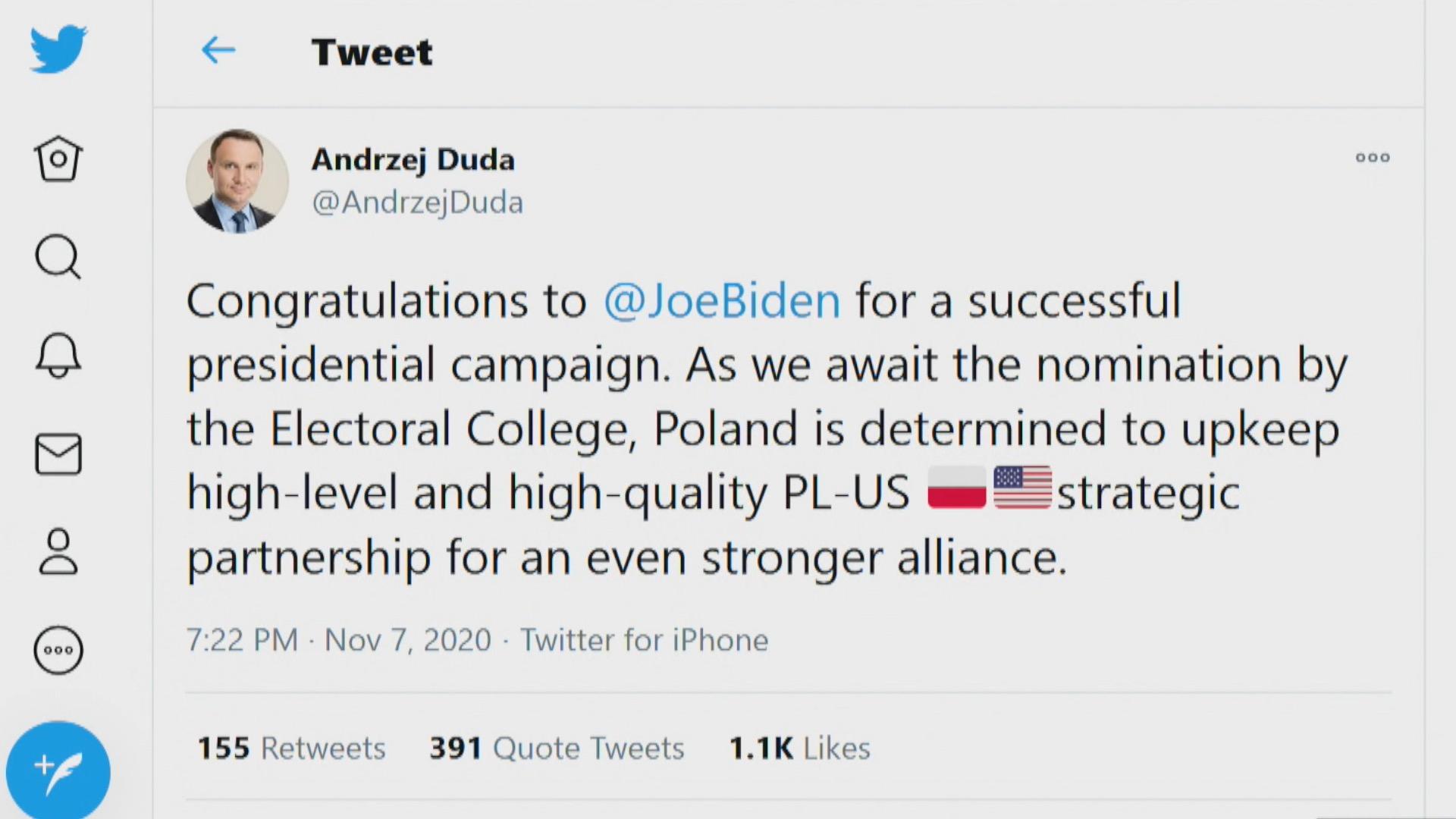 Wybory w USA. Joe Biden wygrał według mediów. Andrzej Duda i inni przywódcy  składają gratulacje - TVN24