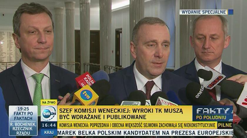 Grzegorz Schetyna po opublikowaniu opinii Komisji Weneckiej