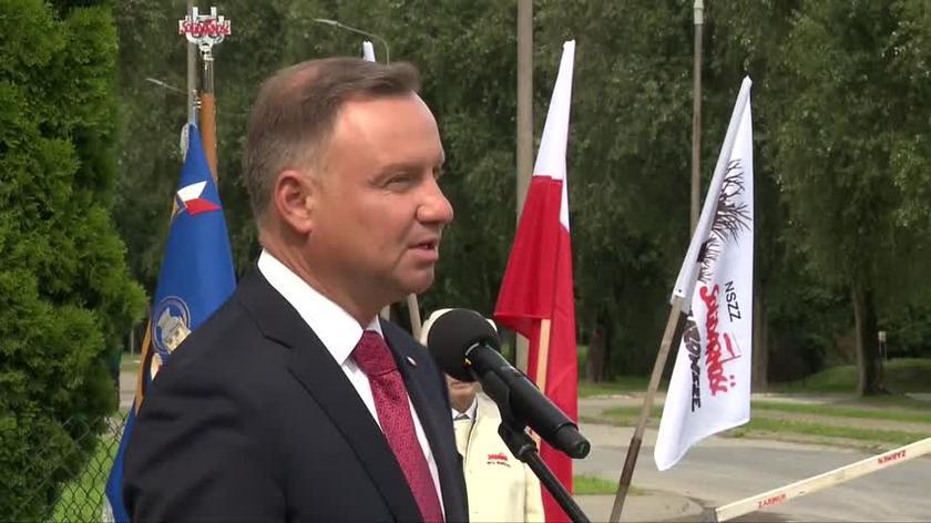 Andrzej Duda podczas uroczystości związanych z 41. rocznicą podpisania Porozumień Sierpniowych