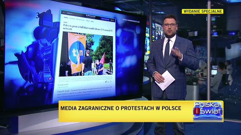 Zagraniczne agencje o protestach w obronie TVN i wolności mediów w Polsce