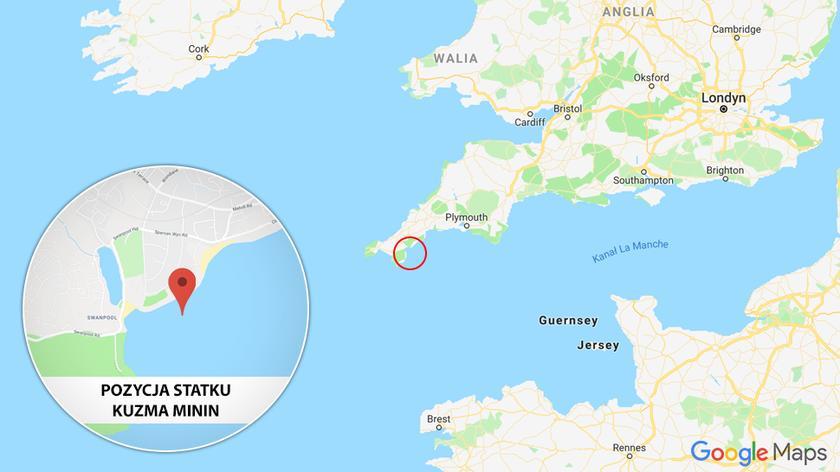 Rosyjski statek utknął w okolicy miasta Falmouth