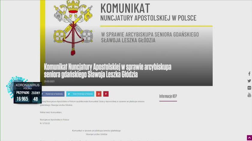 Abp Głódź ukarany przez Watykan. Komunikat Nuncjatury Apostolskiej