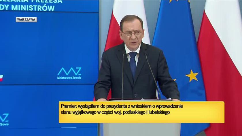 Szef MSWiA: Rada Ministrów podjęła uchwałę o wprowadzeniu stanu wyjątkowego na wąskim pasie leżącym przy granicy z Białorusią