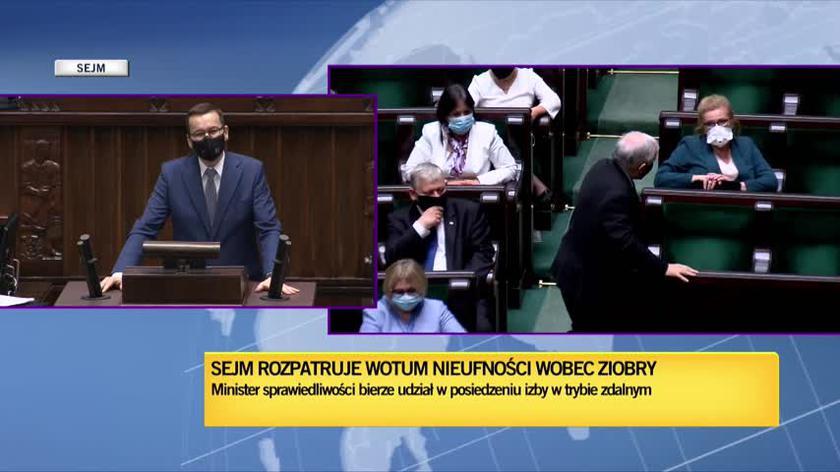 Premier Mateusz Morawiecki podczas debaty o wotum nieufności dla ministra Ziobry
