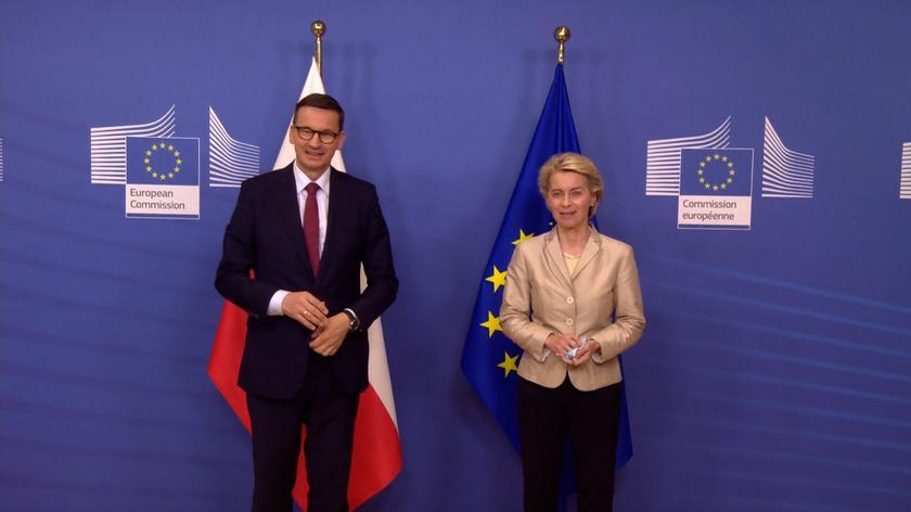 Powitanie Mateusza Morawieckiego przez przewodniczącą Komisji Europejskiej Ursulęvon der Leyen w Brukseli