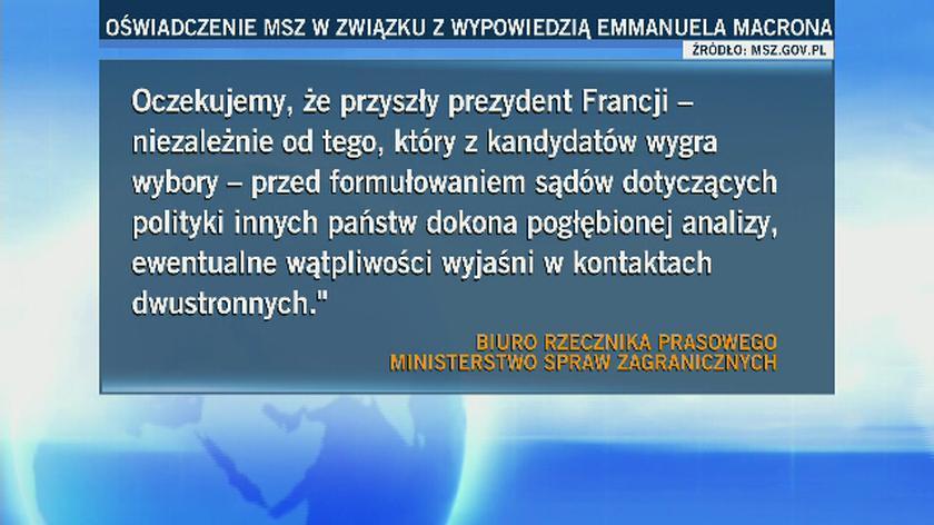 Emmanuel Macron o Polsce. MSZ wydało oświadczenie