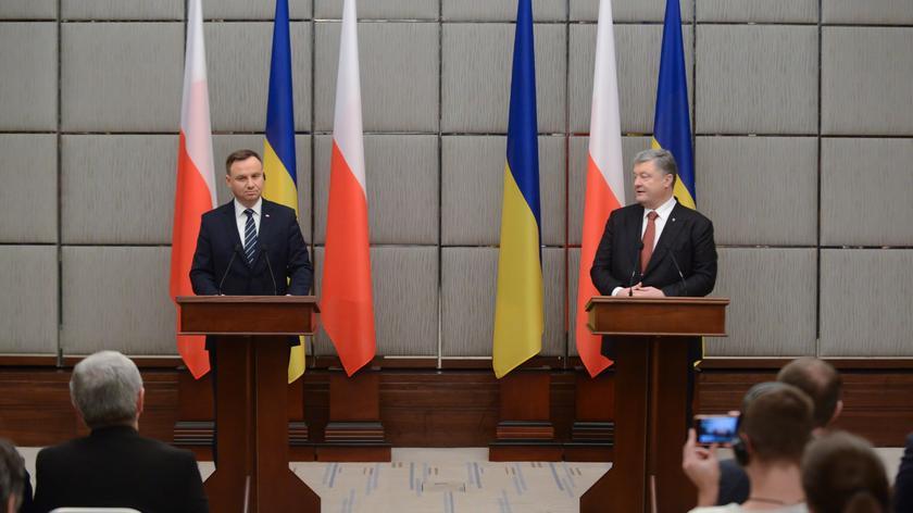 Andrzej Duda i Petro Poroszenko na konferencji prasowej