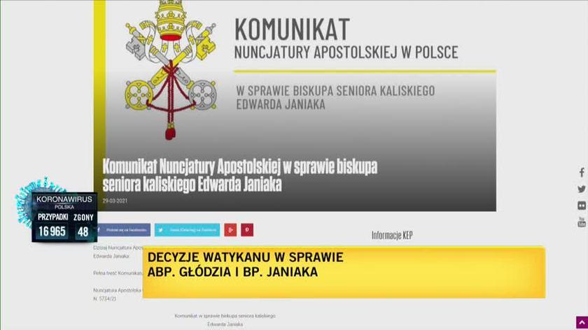 Biskup Janiak ukarany przez Watykan. Komunikat Nuncjatury Apostolskiej