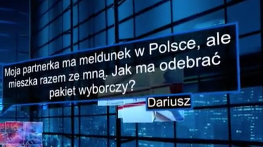 """""""Moja partnerka ma meldunek w Polsce, ale mieszka razem ze mną, jak ma odebrać pakiet wyborczy?"""""""