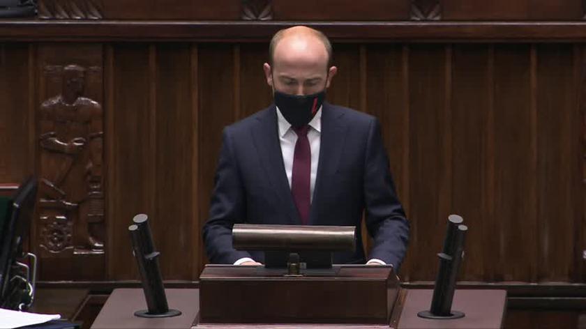 Borys Budka z KO podczas debaty nad wotum nieufności wobec Ziobry