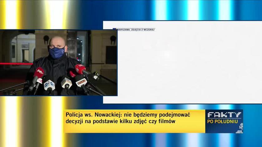 """""""Widzimy rękę, która przepycha tarczę i wpycha tę tarczę w twarz policjanta"""". Policja pokazuje nagranie w sprawie Nowackiej"""