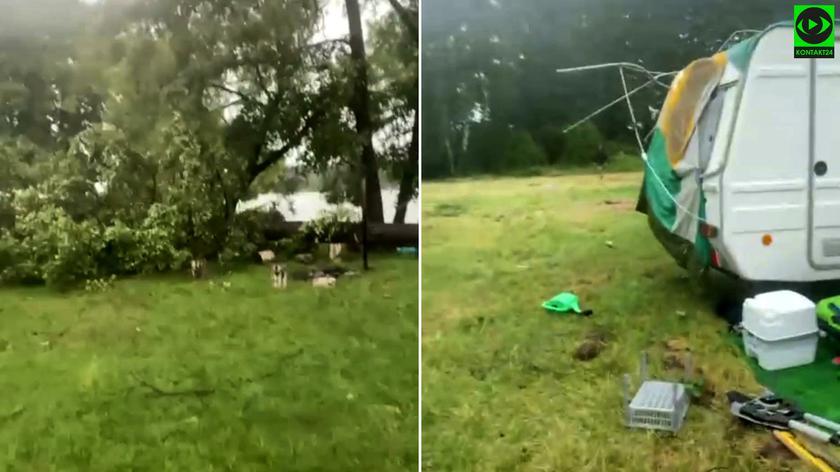 Powalone drzewo, zniszczone namioty nad Jeziorakiem w m. Siemiany