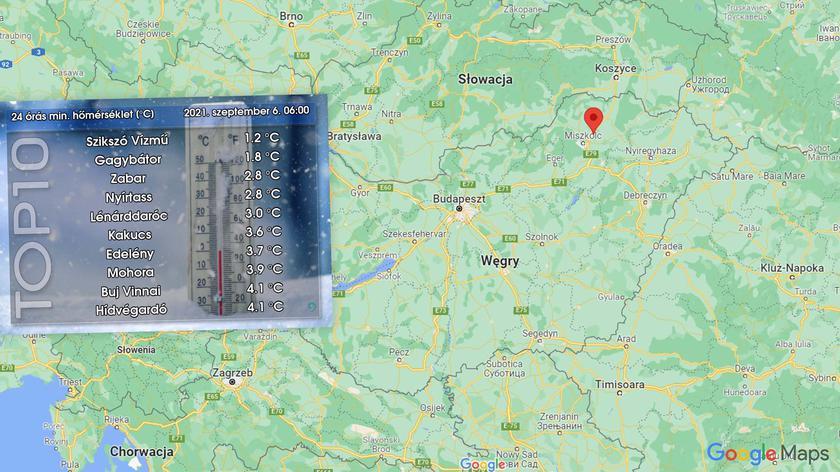 Prognozowana temperatura na najbliższe dwa dni na Węgrzech