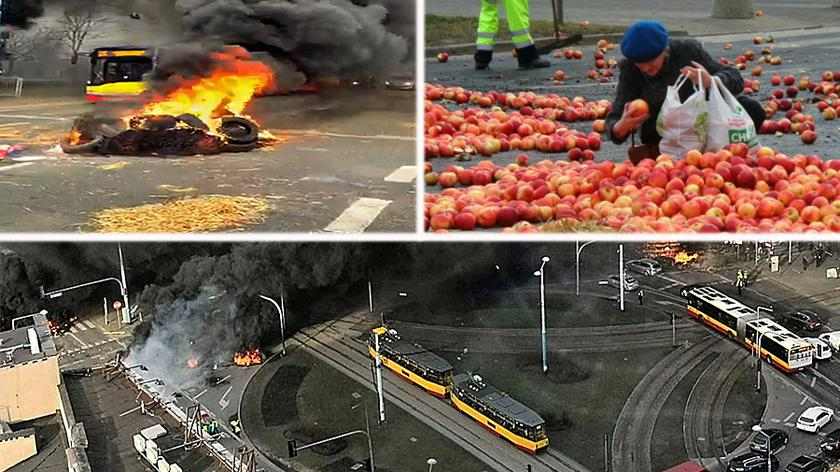 Protesting farmers have blocked a busy roundabout in central Warsaw with piles of burning straw, apples and a pig carcass strewn across the road