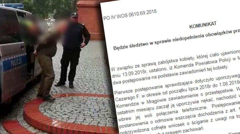 Będzie śledztwo w sprawie policjantów badających sprawę 50-latki