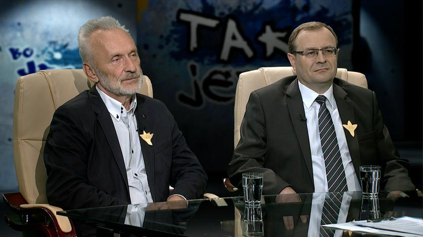 prof. Antoni Dudek  i prof. Andrzej Żbikowski w Tak Jest