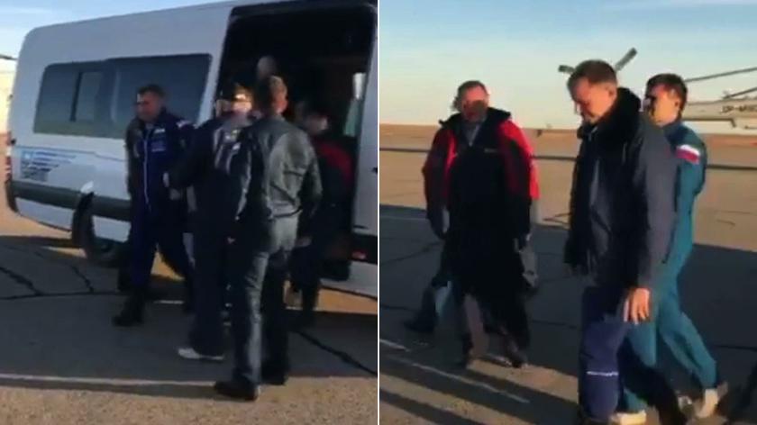 Astronauci na płycie lotniska w Żezkazganie
