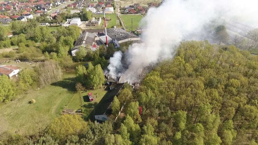 Pożar budynków magazynowych w Szczecinie
