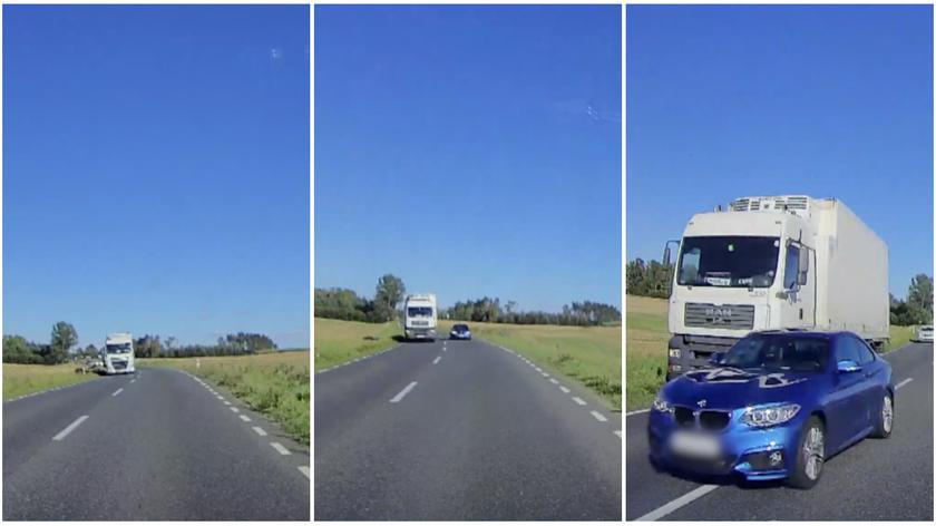 Niebezpieczne wyprzedzanie zarejestrowała kamera samochodowa