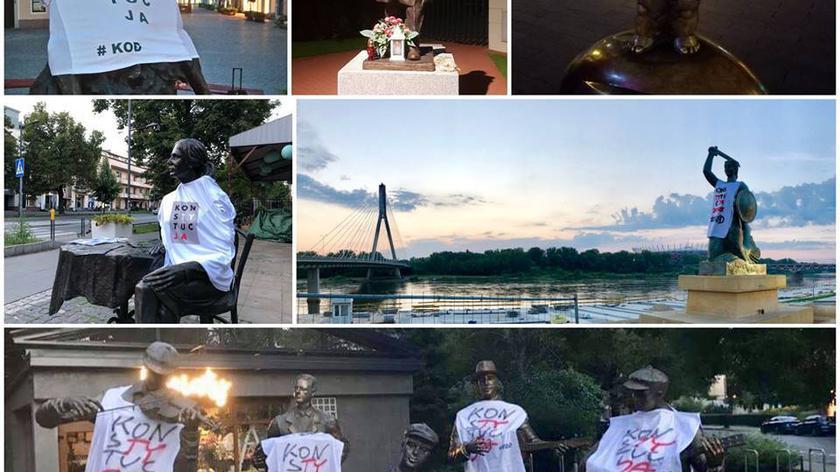 Koszulki zawisły na pomnikach w całym kraju