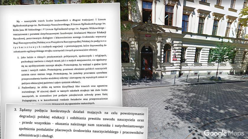 Pod listem podpisali się strajkujący nauczyciele z trzech krakowskich liceów