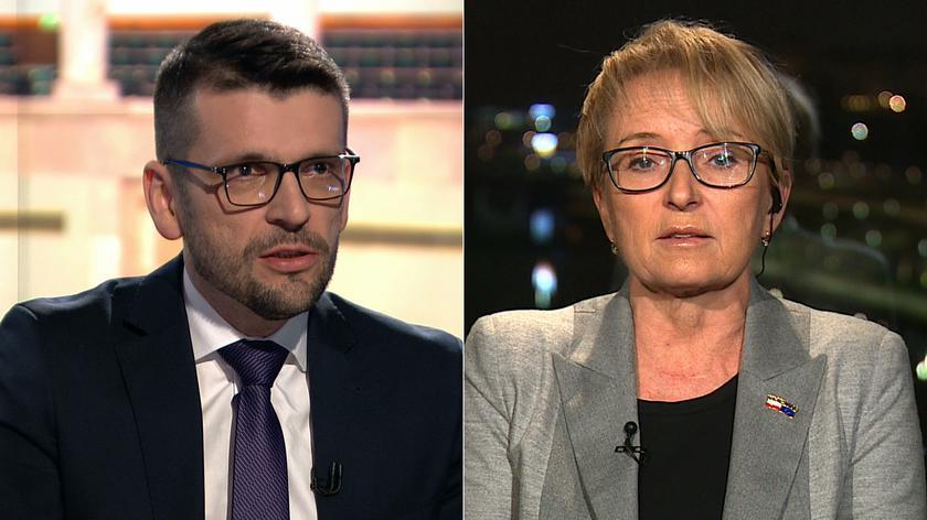 """Łukasz Chojniak i Beata Morawiec w """"Faktach po Faktach"""" w TVN24"""