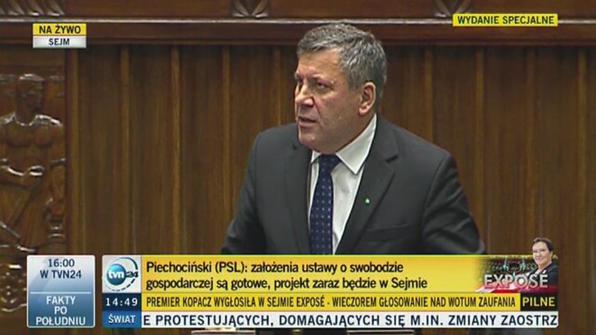 Janusz Piechociński mocno z mównicy