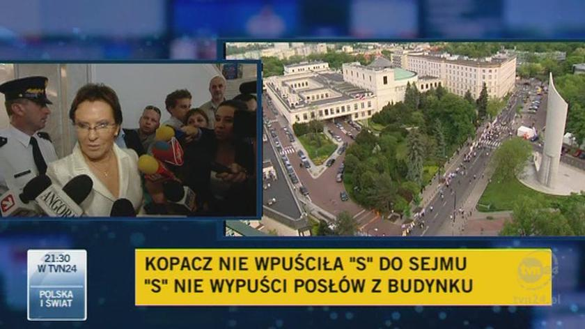 Marszałek Kopacz o blokadzie / TVN24
