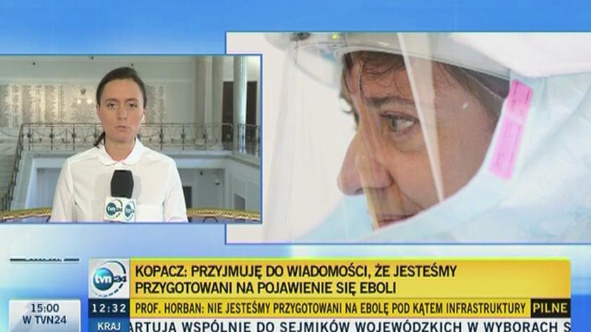 Minister zdrowia i premier Ewa Kopacz uspokajają, że Polska jest gotowa na pojawienie się eboli