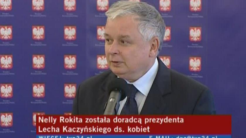 Prezydent: zdecydowałem, że Nelly Rokita będzie doradcą prezydenta